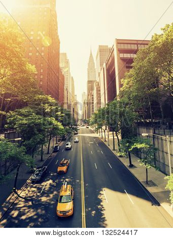 42nd Street in New York during the day with Instagram style retro filter