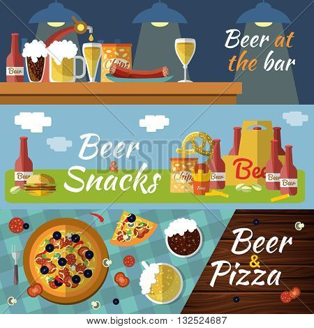 Three horizontal beer flat banner set with titles beer at the bar beer snacks beer and pizza vector illustration