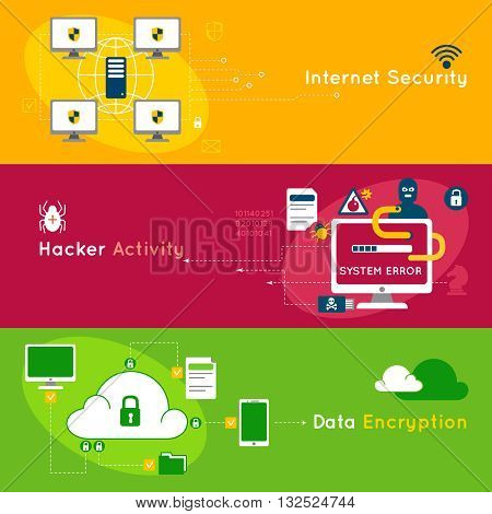 Three data protection flat banner set with headlines internet security hacker activity and data encryption vector illustration