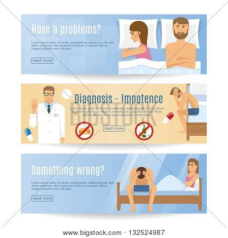 Three horizontal flat man problem banner set with headlines have a problems diagnosis impotence something wrong vector illustration