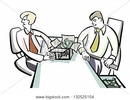 Vector illustration of a bribes to officials