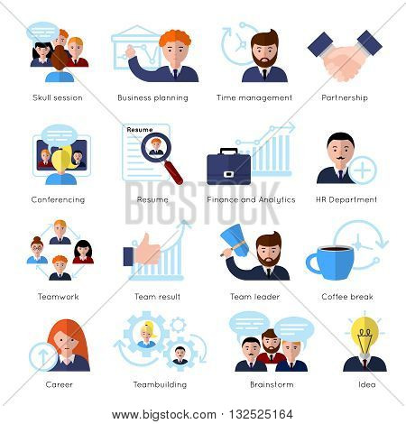 Teamwork flat icon set with people at work and skull session business planning conferencing and ext vector illustration