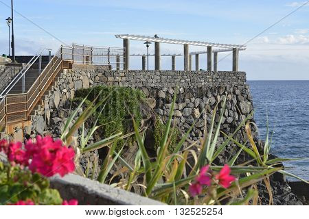 Viewpoint and promenade on clifftop at Lido near Funchal in Madeira Portugal