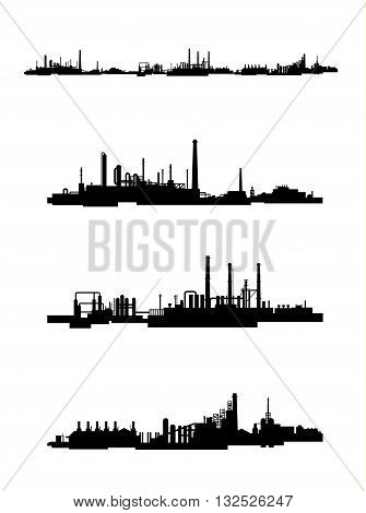 Vector illustration of a three factories silhouettes