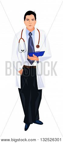 Vector illustration of a doctor in white robe