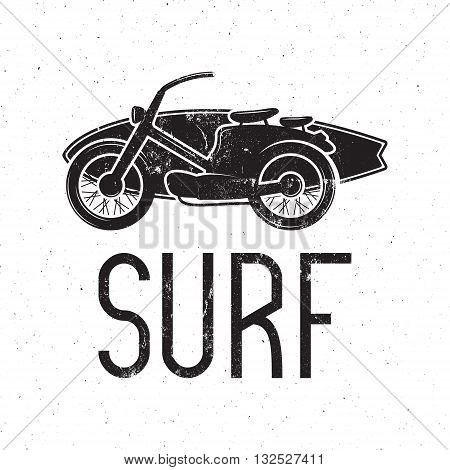 Vintage Surfing tee design. Retro Surf fest t-shirt Graphics and Emblem for web design or print. Surfer motorcycle logo design. Surf Badge. Surfboard seal, elements, symbols. Monochrome. Vector.