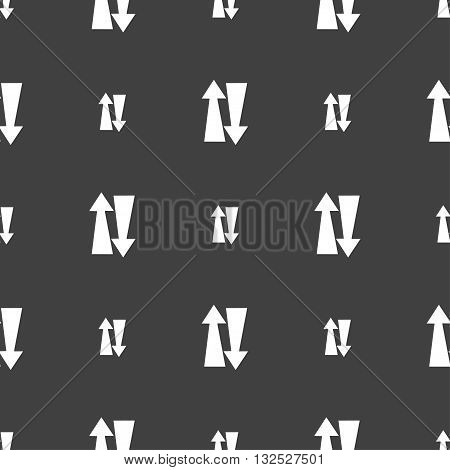 Two Way Traffic, Icon Sign. Seamless Pattern On A Gray Background. Vector