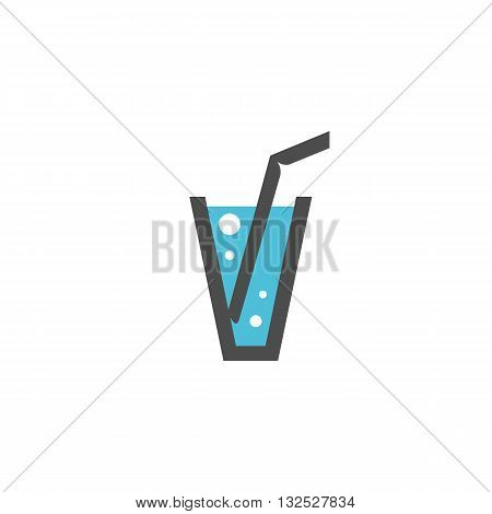 Glass of water icon on white background. Glass of water logo element for template. Modern vector pictogram for web graphics. Flat design style. Vector illustration. - stock vector