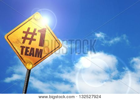 number one team, 3D rendering, glowing yellow traffic sign