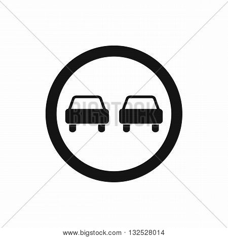 No overtaking road traffic sign icon in simple style isolated on white background