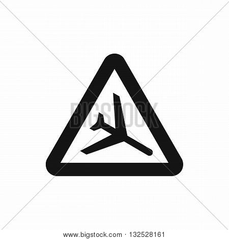 Warning sign of low flying aircraft icon in simple style isolated on white background