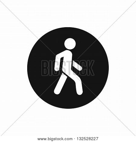 Pedestrians only road sign icon in simple style isolated on white background