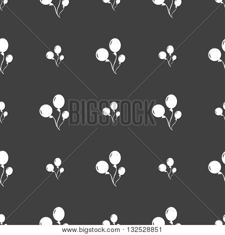 Balloons Icon Sign. Seamless Pattern On A Gray Background. Vector