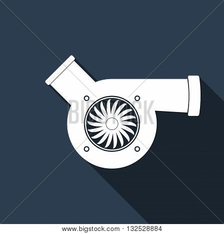 Automotive turbocharger icon with long shadow. Vector Illustration