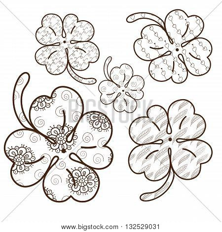 Clover leaves adult coloring book page. 5 seamless patterns are included in EPS. Whimsical line art Vector illustration. Brown outline.