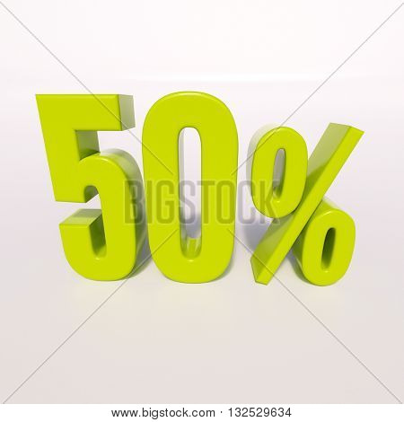 3d render: green 50 percent, percentage discount sign on white, 50%