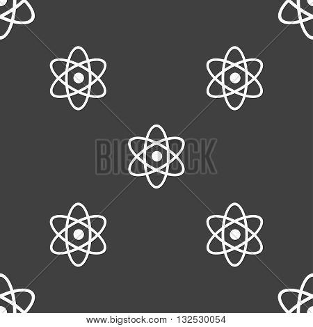 Atom, Physics Icon Sign. Seamless Pattern On A Gray Background. Vector