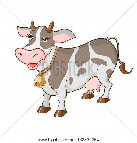 Happy cartoon cow on white background isolated. For milk products package design. Healthy bio farm products. Vector illustration.