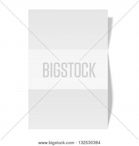 Three times folded paper sheet placed on white background