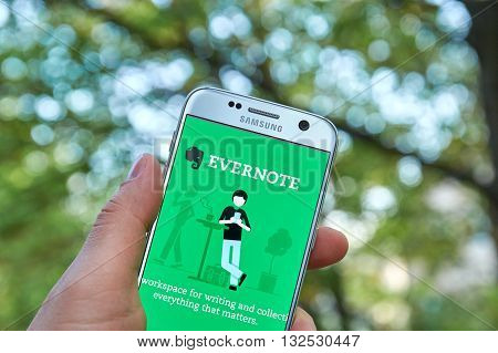 MONTREAL CANADA - MAY 23 2016 : Evernote application on Samsung S7 screen. Evernote is a cross-platform freemium app designed for note taking organizing and archiving.