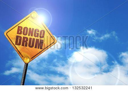 bongo drum, 3D rendering, glowing yellow traffic sign