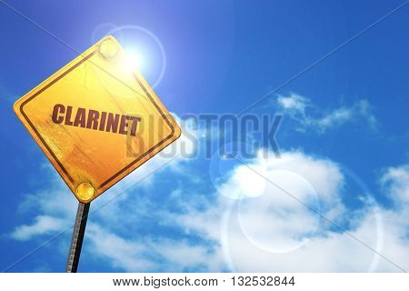 clarinet, 3D rendering, glowing yellow traffic sign