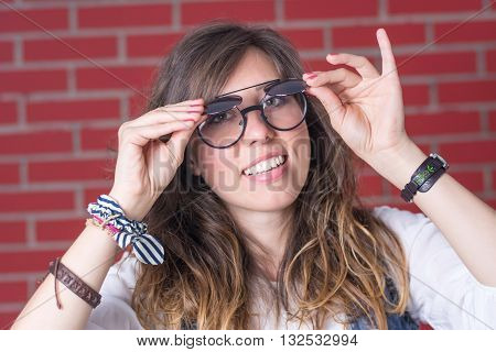 Woman Trying Out A Double Eyesight Glasses
