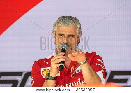 Monaco France May 27th 2016: Maurizio Arrivabene team principal of Ferrari Formula One team interviewed during the Montecarlo Gran Prix week end in Monaco.
