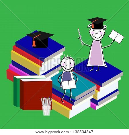Children education isometric flat vector concept. Flat 3d isometric design. Children read book. Vector illustration.