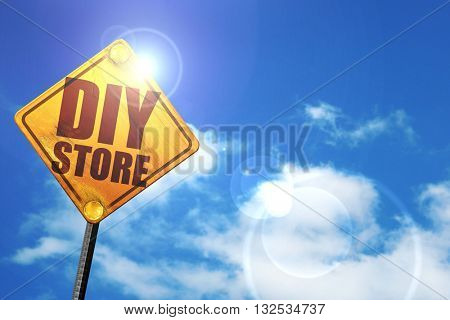 diy store, 3D rendering, glowing yellow traffic sign
