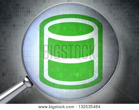 Database concept: magnifying optical glass with Database icon on digital background, 3D rendering
