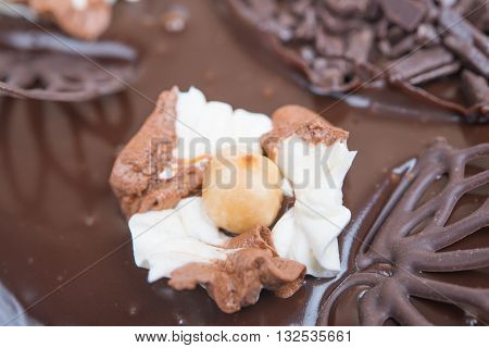 decoration, dessert chocolate cake isolated on white background