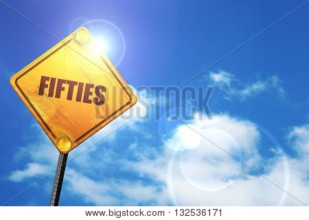 fifties, 3D rendering, glowing yellow traffic sign