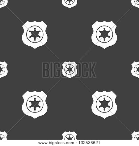 Sheriff, Star Icon Sign. Seamless Pattern On A Gray Background. Vector