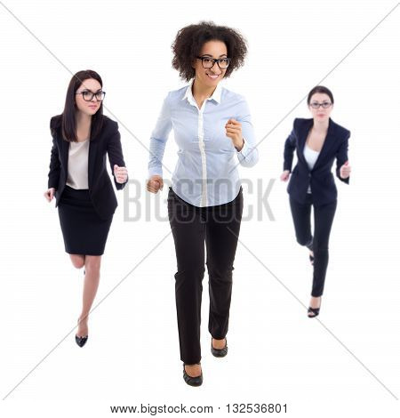 Deadline Concept - Front View Of Running Business Women Isolated On White
