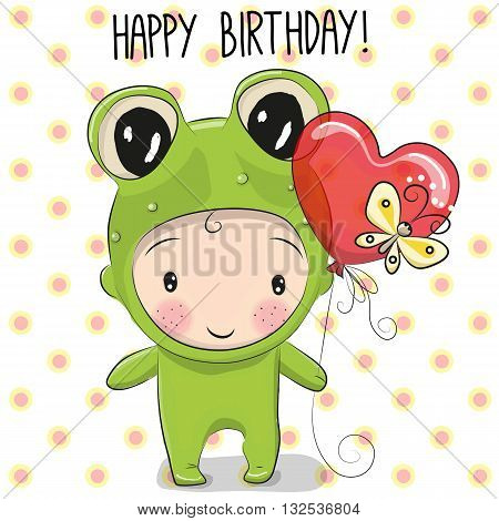 Cute Cartoon boy in a frog costume with a balloon