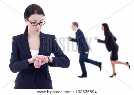 deadline concept - business woman boss checks time on wrist watch and her running colleagues isolated on white background