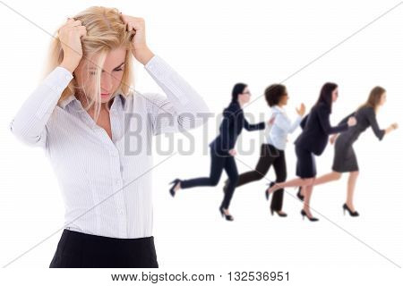 Stress At Work - Stressed Business Woman And Her Running Colleagues Isolated On White