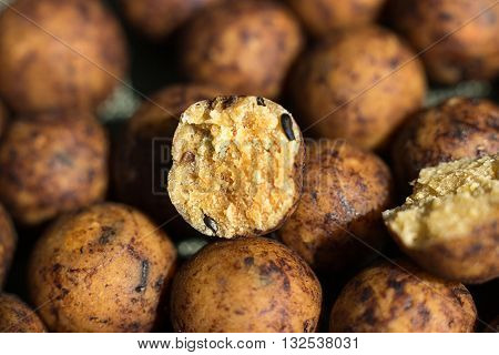 Boilies, fishing baits, close up Selective focus and shallow Depth of field
