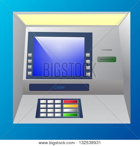 Bankomat vector illustration in blue shades. ATM machine for operations with money front view.