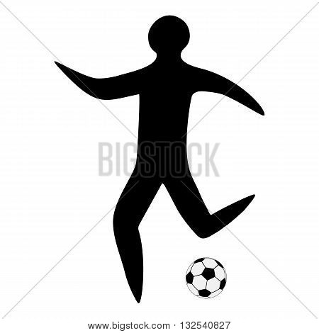 Sportsman man soccer player with ball silhouette on a white background