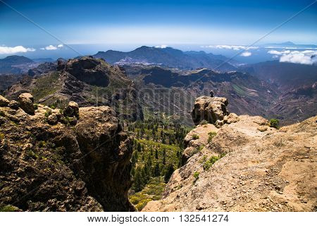 Panoramic view from Roque Nublo peak on Gran Canari Island, Spain.