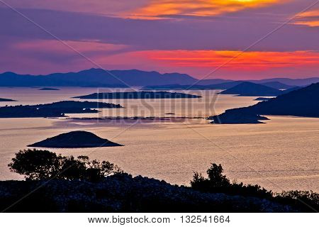Adriatic archipelago aerial view at sunset islands of Croatia near Kornati national park