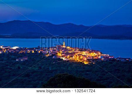 Mediterranean town of Betina evening skyline old architecture of Adriatic Dalmatia Croatia