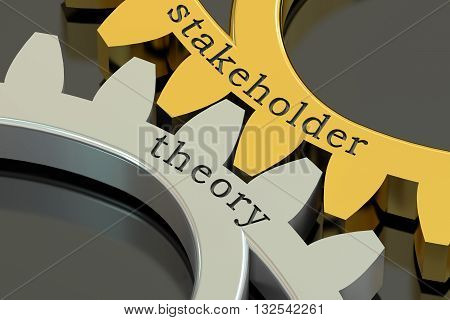 stakeholder theory concept on the gearwheels 3D rendering