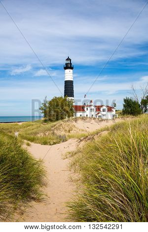 Big Sable Lighthouse at Ludington State Park on the shores of Lake Michigan.