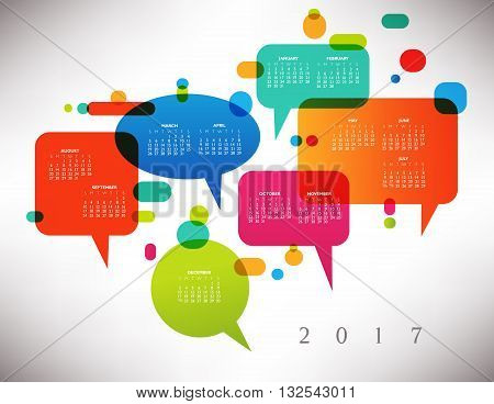 2017 Colorful Creative Calendar with Speech Balloons