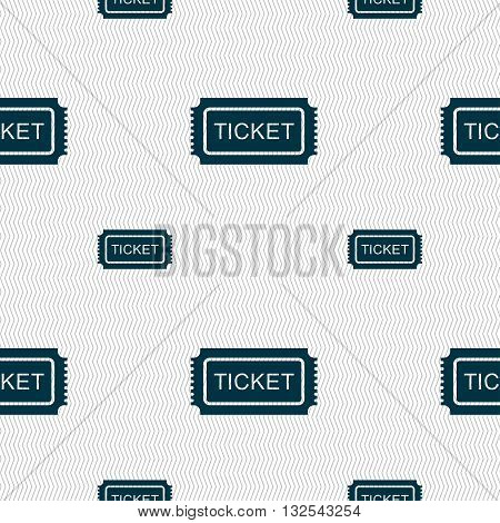 Ticket Icon Sign. Seamless Pattern With Geometric Texture. Vector