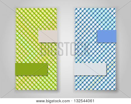 Crossing color stripes vertical vector banner template.