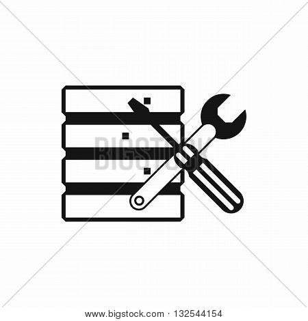 Database with screwdriverl and spanner icon in simple style isolated on white background